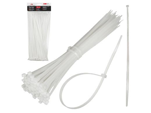 Opaski zaciskowe (100 sztuk) Maclean MCTV-461 W - białe, 2.5x100mm, odporna na UV, temp. użytkowania - 40 +85 st. C.