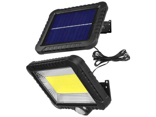Solarny naświetlacz LED z czujnikiem ruchu Maclean Energy IP44, 5W, 400lm, 6000K zimna biała, akumulator litowy 1300 mAh, 5,5V D