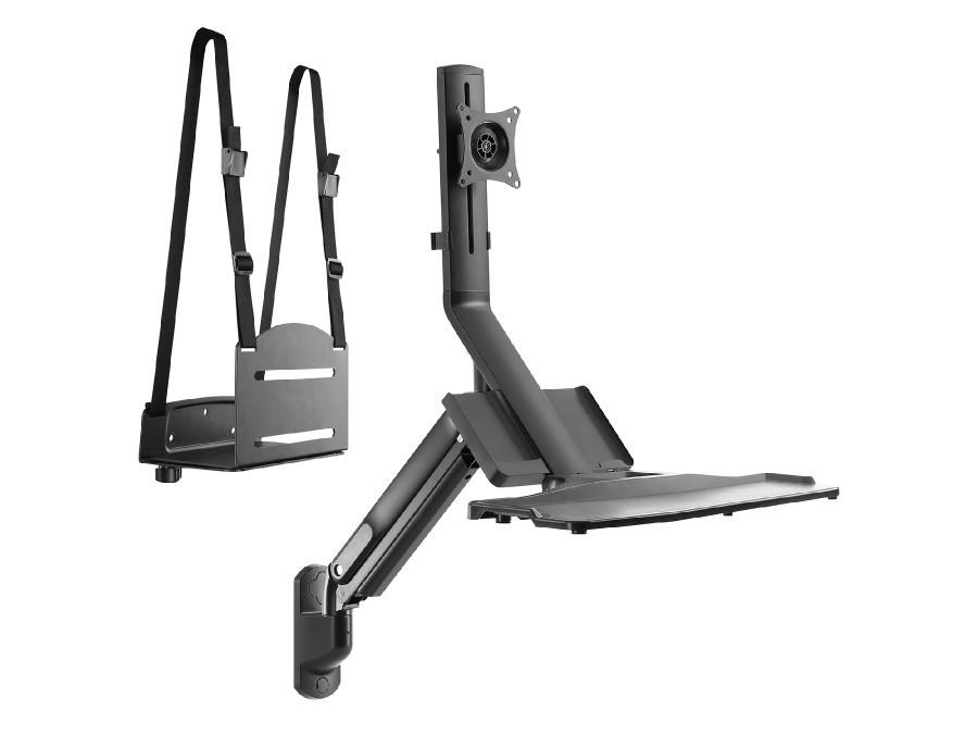 """Uchwyt ścienny do monitora i klawiatury Maclean MC-838 ze sprężyną gazową  i uchwytem na komputer / CPU 17""""-32"""" 9 kg  POSERWISOW"""