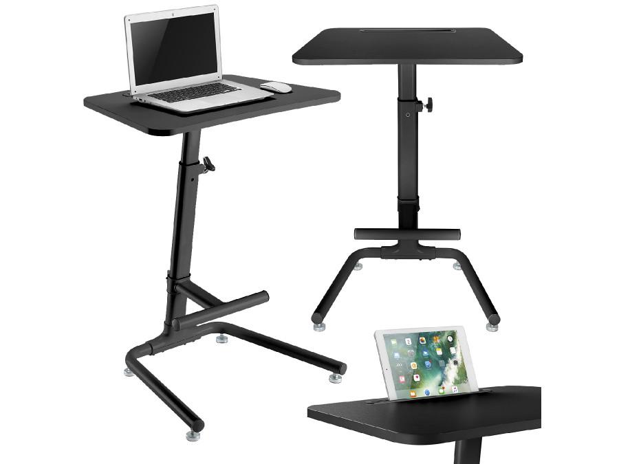 Biurko stolik Maclean, regulacja wysokości, sprężyna gazowa, do pracy stojąco siedzącej, czarny, max wys 120cm, MC-849B