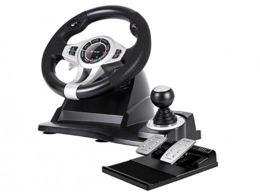 Kierownica TRACER Roadster 4 in 1 PC/PS3/PS4/Xone POSERWISOWA Delikatne ślady użytkowania, niewielkie zatarcia i zabrudzenia.