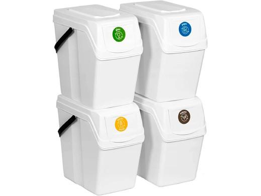 Zestaw koszy do segregacji Sortibox 4x25L białe ISWB25S4