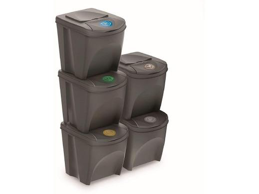 Zestaw koszy do segregacji Sortibox 5x25L szare IKWB25S5