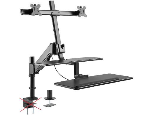 """Uchwyt na dwa monitory i klawiaturę Maclean MC-797 do 8kg 13""""-32"""" do pracy stojąco-siedzącej POSERWISOWY Brak możliwości montaż"""