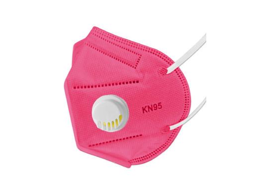 Komplet 5szt masek filtrujących KN95 z zaworkiem ciemny różowy