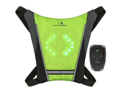 Kamizelka / plecak LED Maclean, z pilotem, MCE420 baterie Lithum 3.7V 500mAh, 2xCR2032, wodoodporność: pilot IPx5, kamizelka IPX