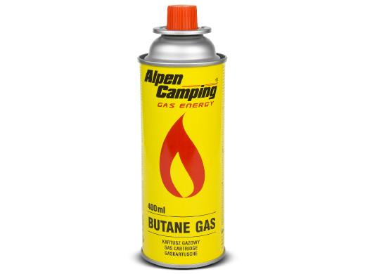 Kartusz gazowy 400ml Alpen Camping. certyfikat: Pi 0875, zgodny z normą EN417, izobutan, zakres działania -10°c do+ 40°c, IK004