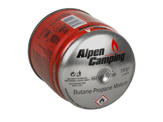 Kartusz gazowy 400ml Alpen Camping. certyfikat: Pi 0437, zgodny z normą EN417, propan-butan, zakres -10°c do+ 40°c, system GAS S