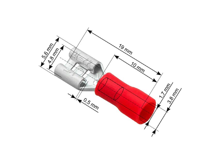 Wsuwka żeńska 4,8mm/0,50  czerwona izolowana do połowy