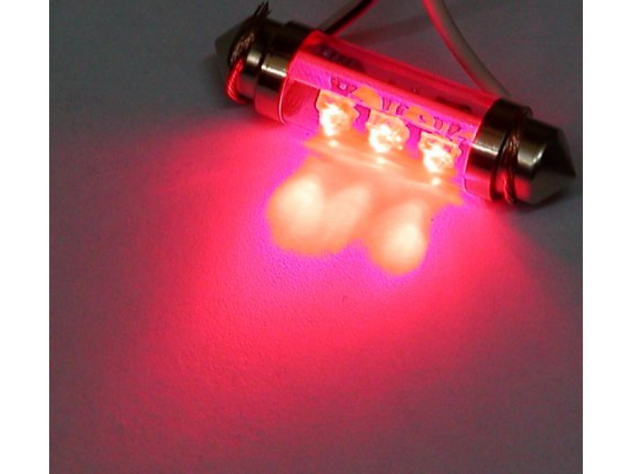 Dioda LED samochodowa czerwona T10X42-6R wewnętrzna 12V