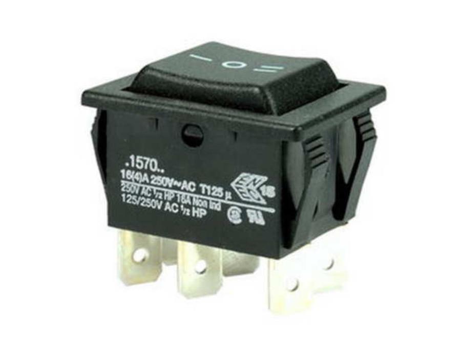 Przełącznik klawiszowy 3poz 6pin on-off-on szeroki czarny C1570 ALBB 16A 250V
