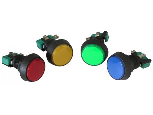 Przełącznik przyciskowy 44mm okrągły podświetlany mix