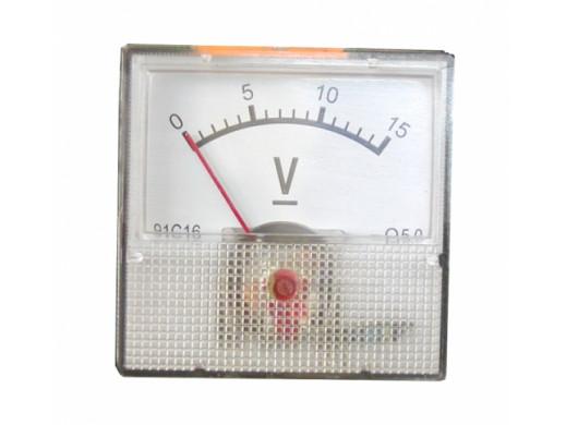 Voltomierz analogowy kwadratowy mini 15V