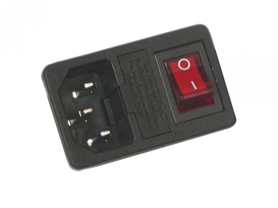 Gniazdo AC komputerowe męskie z wyłącznikiem montażowe bez zaślepki bezpiecznika