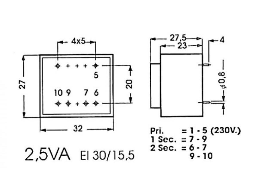 encapsulated transformer 2 5va 2 x 6v    2 x 0 208a