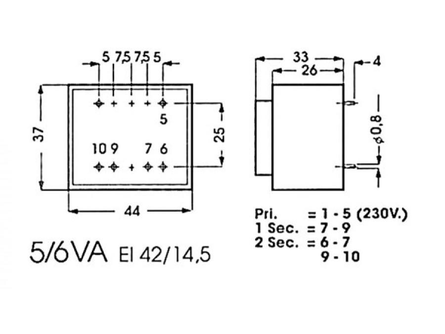 encapsulated transformer 5va 2 x 7 5v    2 x 0 334a