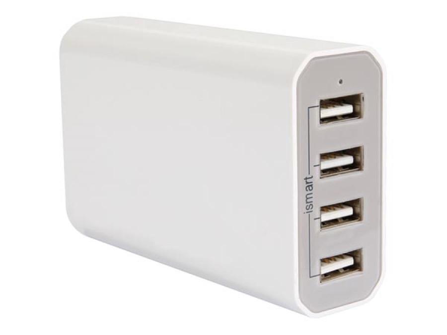 KOMPAKTOWA INTELIGENTNA ŁADOWARKA Z 4 WYJŚCIAMI USB - maks. 7,2 A - maks. 36 W - BIAŁA