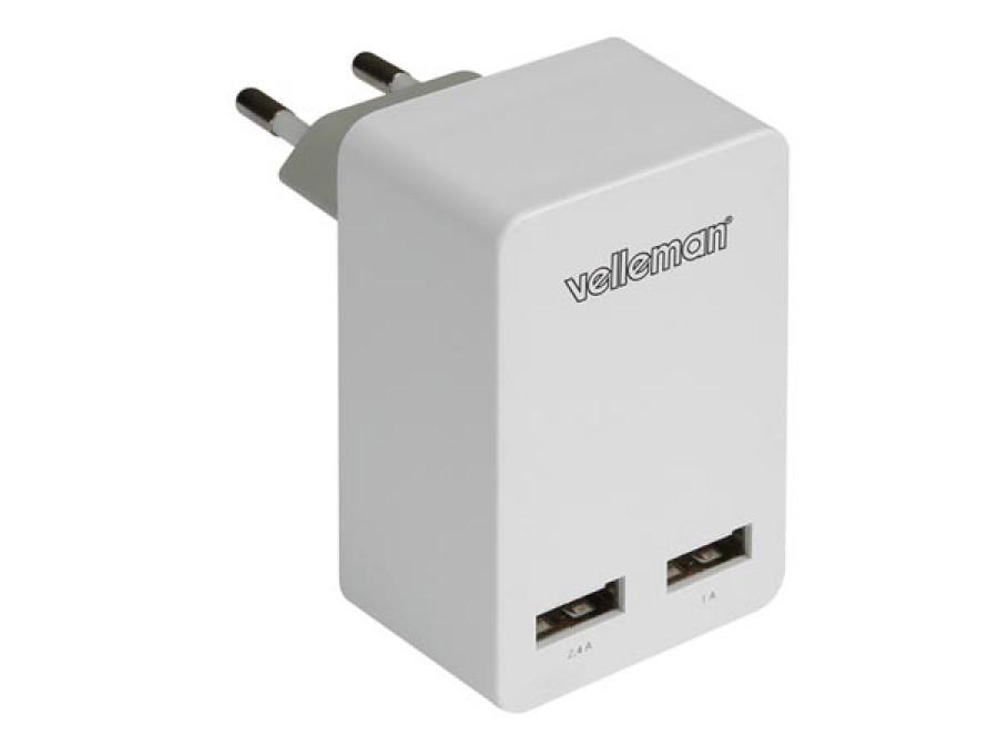 KOMPAKTOWA ŁADOWARKA Z PODWÓJNYM WYJŚCIEM USB 5 V - 3,4 A maks. (2,4 + 1 A)