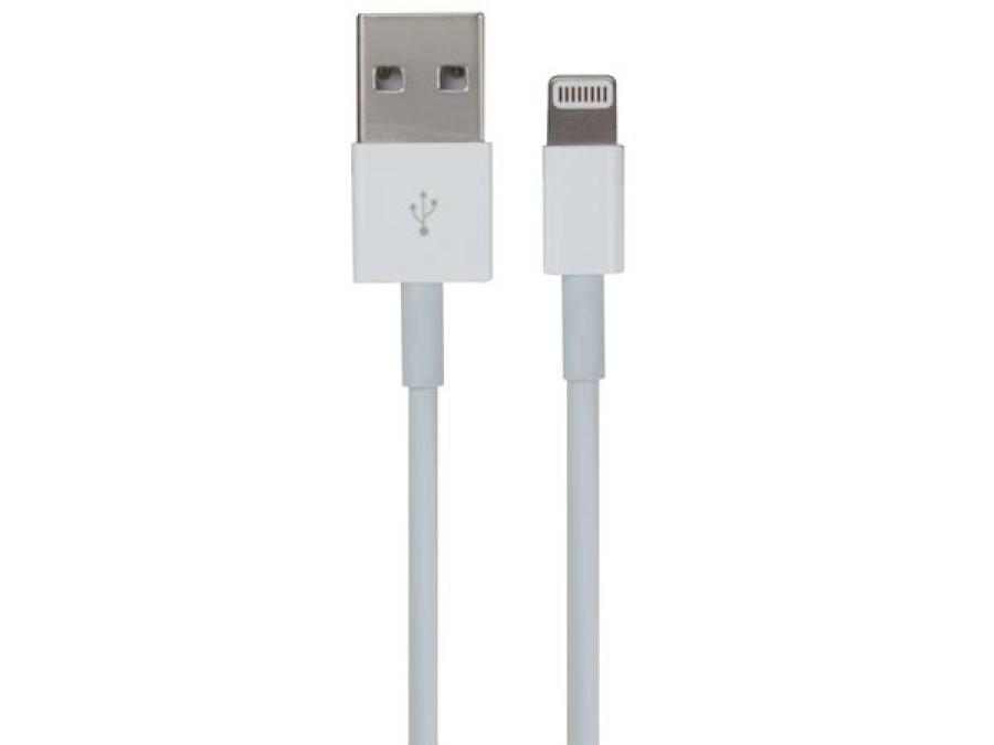 MĘSKIE ZŁĄCZE USB A/ 8-PINOWE ZŁĄCZE MĘSKIE LIGHTNING - BIAŁE - 1 m