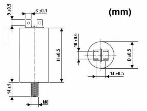 MOTOR RUN CAPACITOR 8µF / 450V