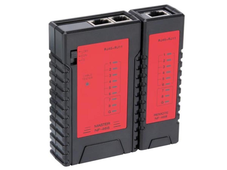 TESTER SIECI LAN DO RJ45 8P8C (RJ45), 6P6C (RJ12), 6P2C (RJ11), 4P4C (RJ10)