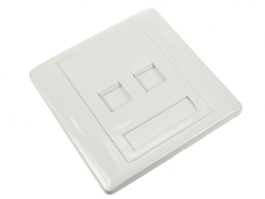 WALL PLATE 2 PORTS, WHITE