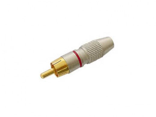RCA PLUG MALE - GOLD TIP - RED
