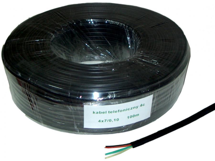 Kabel telefoniczny 4C czarny 100m