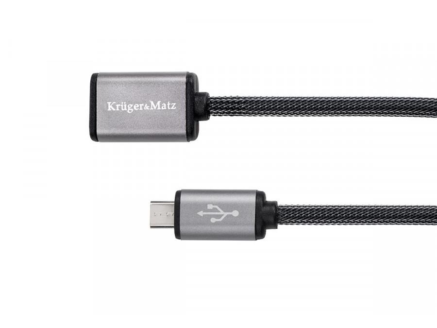 Kabel USB - micro USB gniazdo-wtyk 0,2 m Kruger&Matz