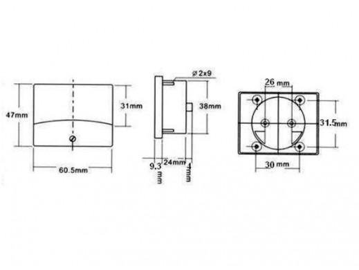ANALOGOWY MIERNIK PANELOWY DO POMIARU PRĄDU DC 50µA DC / 60 x 47mm