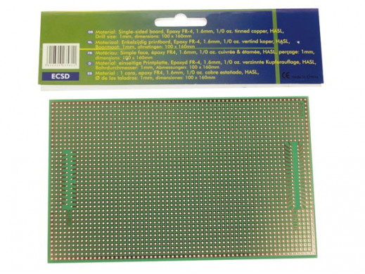 PŁYTKA PCB FORMATU EUROCARD EUROCARD Z CENTRONIX/WZÓR SUB-D - 100x160mm - FR4 (1szt/bl.)