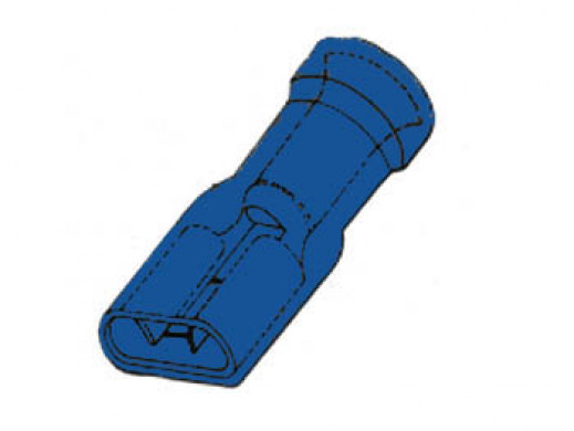 INSULATED FEMALE CONNECTOR 6.4mm BLUE