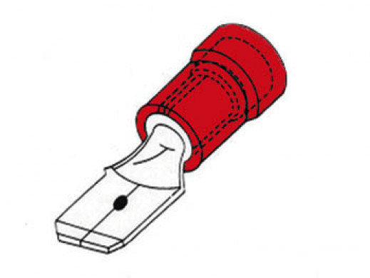 MALE CONNECTOR 4.8mm RED