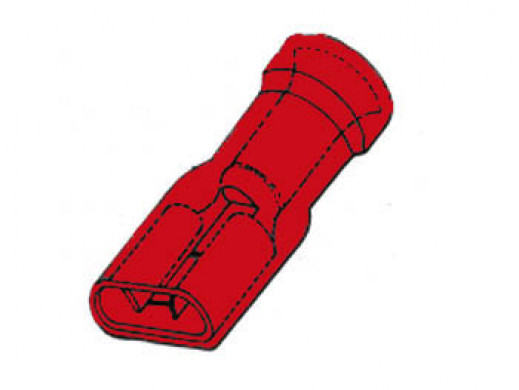 INSULATED FEMALE CONNECTOR 6.4mm RED