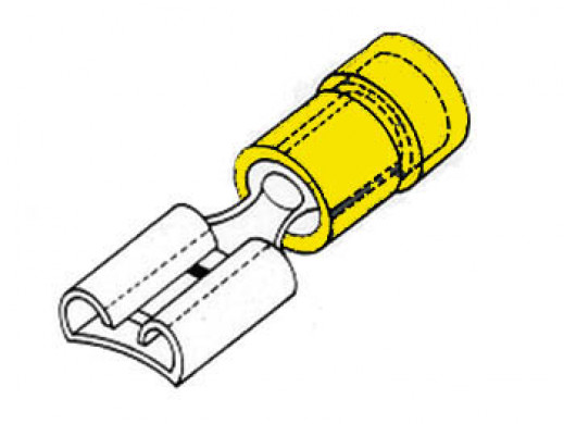 FEMALE CONNECTOR 6.4mm YELLOW