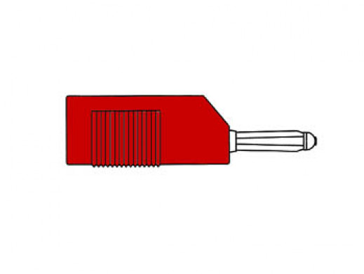 MATING CONNECTOR 4mm WITH LONGITUDINAL OR TRANSVERSE CABLE MOUNTING, WITH SCREW / RED (BSB 20K)