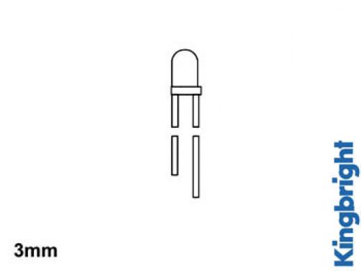STANDARDOWA ŻARÓWKA LED 3mm CZERWONA ROZPROSZONA