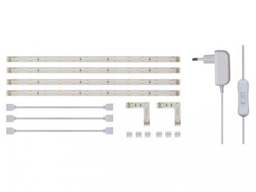 ZESTAW: ELASTYCZNY PASEK LED + ZASILACZ - BIAŁY - 4 x 30CM - 12Vdc