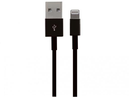 MĘSKIE ZŁĄCZE USB 2.0 A/ 8-PINOWE ZŁĄCZE MĘSKIE MFI LIGHTNING - CZARNE - 1 m