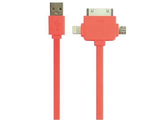 3-w-1 PŁASKI KABEL USB 2.0 - DO ŁADOWANIA / SYNCHRONIZACJI - MĘSKI/MĘSKI -  JASKRAWY POMARAŃCZ - 1 m