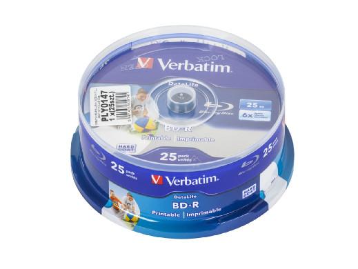 VERBATIM BD-R BLU-RAY 25GB 6X FULL PRINT NO ID CAKE 25szt