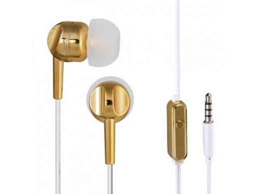 Słuchawki EAR3005GD, dokanałowe, złote, z mikrofonem do rozmów
