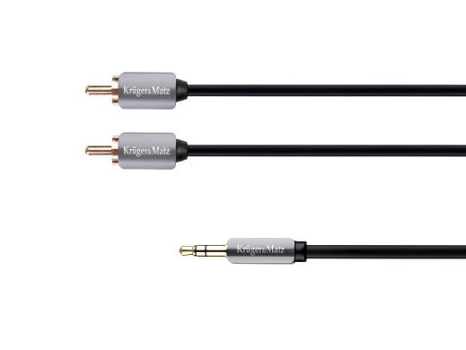 Kabel wtyk jack 3.5 - 2RCA stereo 1.8m Kruger&Matz