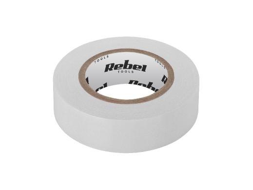 Taśma izolacyjna klejąca REBEL (0,13 mm x 19 mm x 10 yd) biała