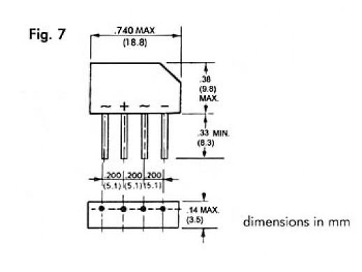 BRIDGE RECTIFIER 250V-1.5A (B250C-2300-1500)