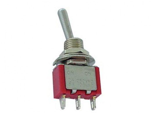 VERTICAL TOGGLE SWITCH SPDT ON-OFF-(ON) - PCB TYPE