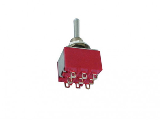 VERTICAL TOGGLE SWITCH 3PDT (ON)-OFF-(ON) - PCB TYPE