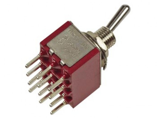 VERTICAL TOGGLE SWITCH 4PDT ON-ON - PCB TYPE