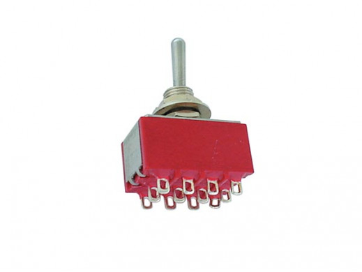 VERTICAL TOGGLE SWITCH 4PDT ON-OFF-ON - PCB TYPE