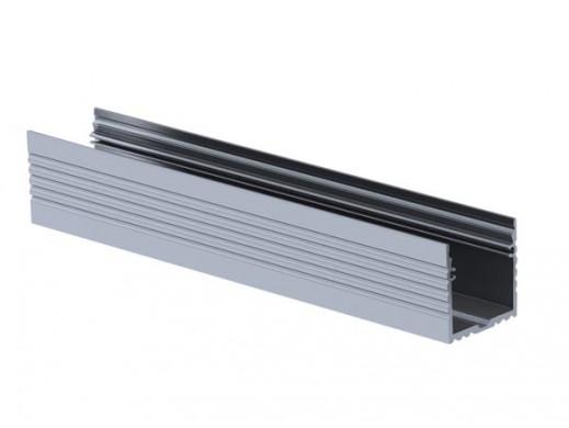 POWERLINE 35 mm, SREBRNY ANODYZOWANY, PROFIL ALUMINIOWY LED, DO ZAŚLEPEK ALUMINIOWYCH - 2 m